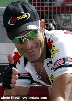 2008 Dauphine Libere:  George Hincapie (High Road) gives a thumbs up after winning Stage 2