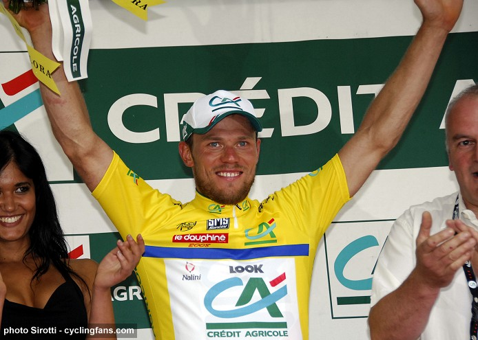 2008 Dauphine Libere: Thor Hushovd (Credit Agricole) on the podium in yellow jersey after Stage 1