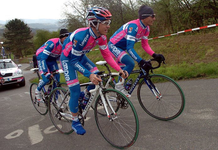 Damiano Cunego and Lampre on reconnaissance before 2008 Liege-Bastogne-Liege