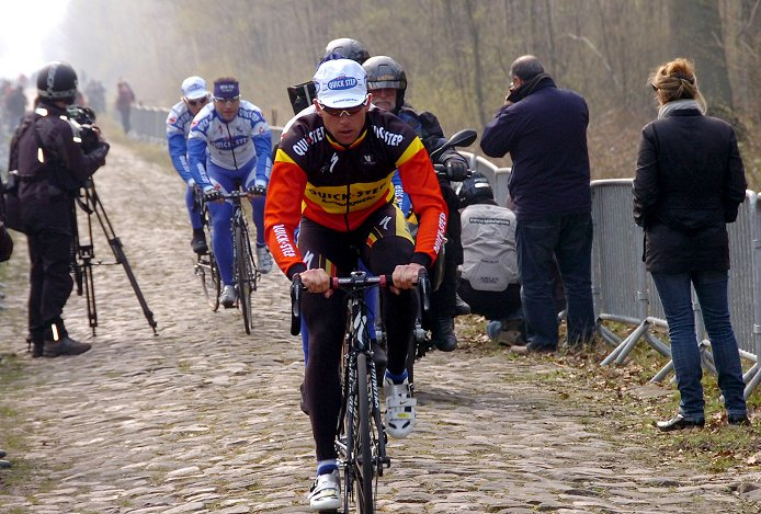 2008 Tour of Flanders winner Stijn Devolder (Quick Step) on Paris-Roubaix reconnaissance yesterday