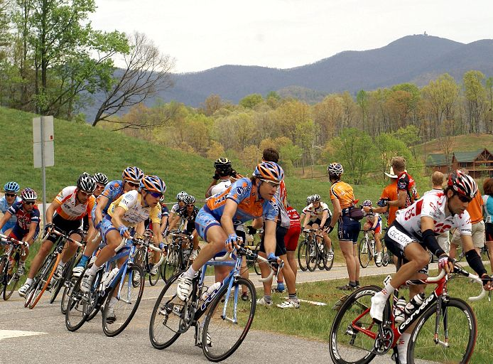 2008 Tour de Georgia: Christian Vandevelde of Slipstream protects race leader Trent Lowe on the way to Brasstown Bald Mountain