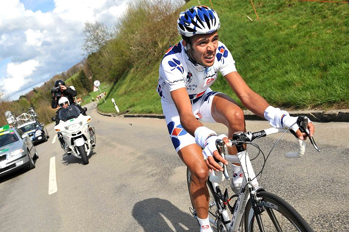 2008 Tour de Romandie:  Remy Di Gregorio (Francaise des Jeux), on an all-day breakaway, was caught with just 8km to go