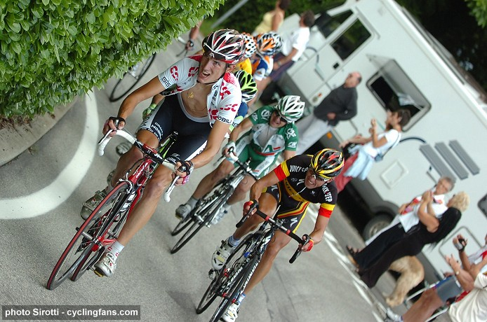 2008 Tour de Suisse: Andy Schleck (Team CSC) and Stijn Devolder (Quick Step) lead the group of the yellow jersey during Stage 5