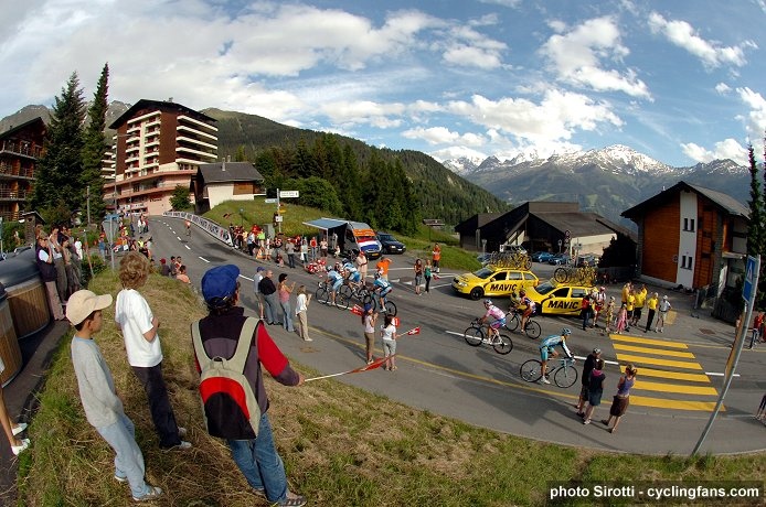 2008 Tour de Suisse, Stage 6:  The race arrives in the ski village of Verbier in the Swiss Alps