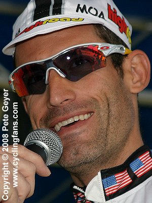 George Hincapie (High Road) is interviewed before the Stage 1 start
