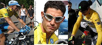 Leipheimer, Hincapie and Landis in yellow