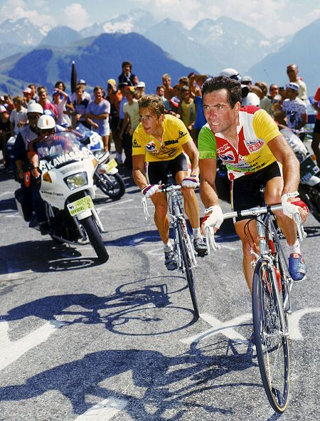 Greg LeMond and Bernard Hinault on Alpe dHuez, 1986 Tour de France, by Graham Watson
