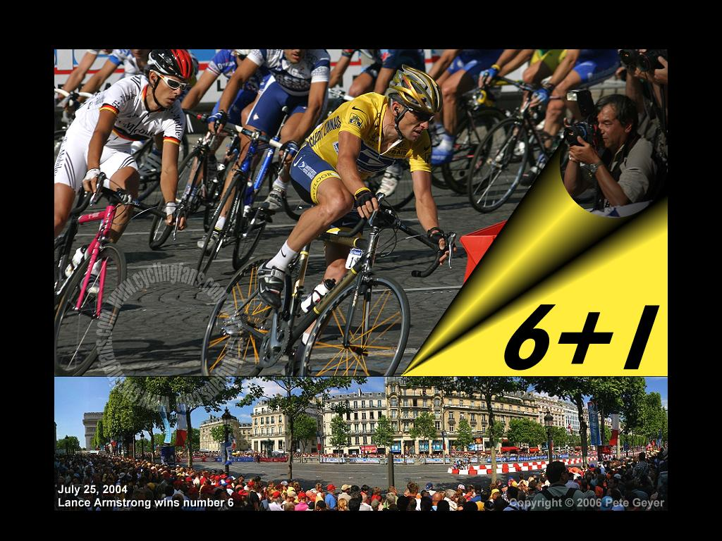 Lance Armstrong 2004 Tour de France Paris Champs-Elysees Panorama Wallpaper