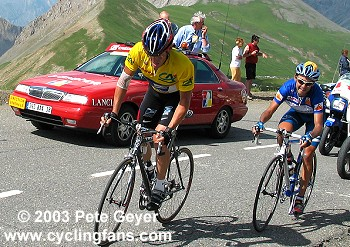 Lance Armstrong and Francisco Mancebo on the Galibier Pass