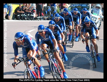 Lance Armstrong and USPS win 2003 Tour de France team time trial