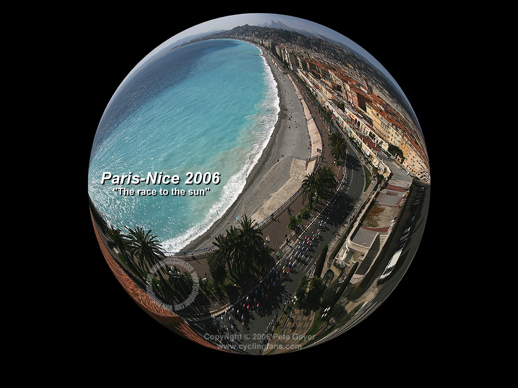 Paris-Nice 2006: the peloton arrives in Nice on the French Riviera