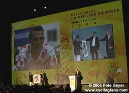 Richard Virenque is awarded for record 7th polka-dot jersey