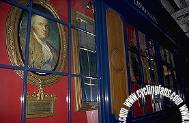Portrait of Ben Franklin in window at Le Procope, Paris